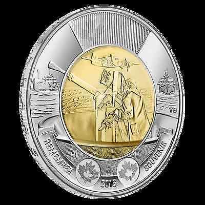 2016 Canada Toonie $2 75TH ANNIVERSARY OF THE BATTLE OF THE ATLANTIC UNC