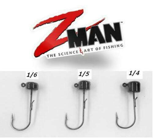 Select Size Z Man Pro Shroomz Ned Rig Jig Heads Green Pumpkin 4PK