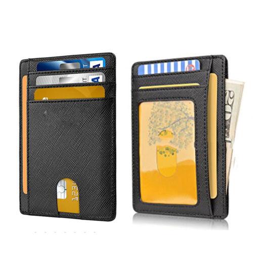 Slim Front Pocket RFID Blocking Leather Billfold Wallets Money Wallet Card Case