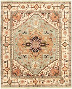 Hand-knotted-Carpet-8-039-0-034-x-9-039-9-034-Serapi-Heritage-I-Traditional-Wool-Rug