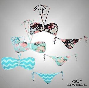 Damen Marke ONeill Bademoden STYLISCHER Bandeau Bikini Top Krawatte Unterhose Größe 8-18