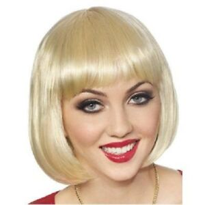 Bob-Wig-1920-039-s-30-039-s-Short-Blunt-Cut-Synthetic-Hair-Costume-Wig-W-Bangs