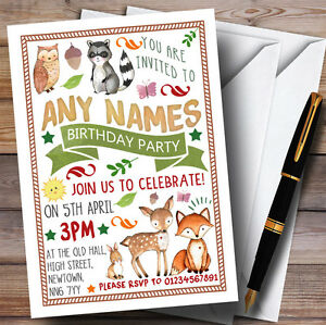 Image Is Loading Woodland Animals Forest Childrens Birthday Party Invitations