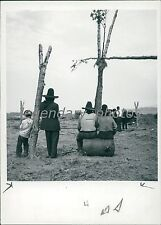 1948 American Indians Stand by Fallen Trees Original News Service Photo