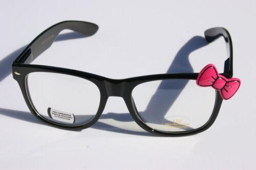 Black nerd female Pink Bow tie Vintage Retro clear lens Sun-GLASSES