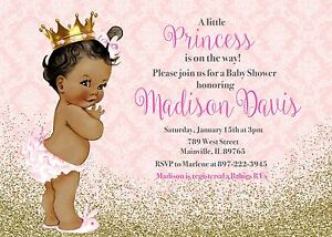 Princess Baby Shower, Pink, Gold, Any Skin Tone, Baby Shower Invitation