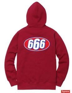 acbad348 Supreme 666 Zip Up Sweat Hoodie Cardinal Red Size Large SS17 STP Box ...