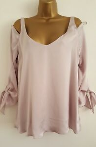 NEW-Wallis-8-18-Metallic-Champagne-Lilac-Pink-Cold-Shoulder-Tunic-Top-Blouse