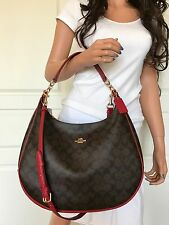 NWT COACH KHAKI SIGNATURE SEXY RED LEATHER HOBO SHOULDER BAG TOTE HANDBAG PURSE