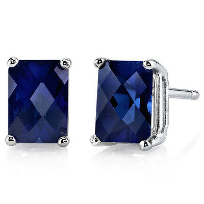14 kt White Gold Radiant Cut 2.50 ct Blue Sapphire Earrings