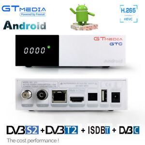 4K Android TV Box + DVB-S2 satellite receiver DVB-T2 ISDBT