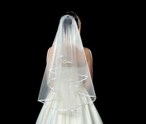 Beautiful-2T-White-Wedding-Bridal-Bride-Veil-with-Satin-Ribbon-Edge-Elbow-Length