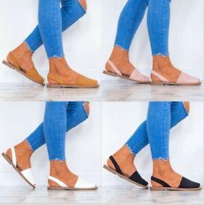 Women Slip On Flat Espadrilles Sandals Ladies Summer Casual PeepToe Pumps Shoes