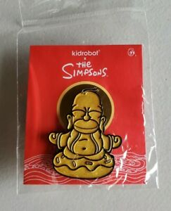 """SDCC 2020 Kidrobot Exclusive The Simpsons Golden Homer Buddha Pin 1.5"""" In Hand"""