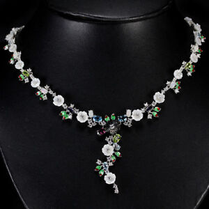 REAL-MOTHER-OF-PEARL-OPAL-TOPAZ-TOURMALINE-CZ-STERLING-925-SILVER-NECKLACE-20
