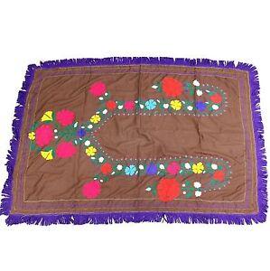 Vintage Uzbek Tribal Hand Embroidered 65 x 47 inch SUZANI Textile 783a7
