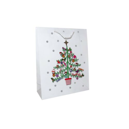 X12 WHITE CHRISTMAS TREE GIFT BAGS SMALL MEDIUM LARGE XMAS WRAP PAPER GIFTS