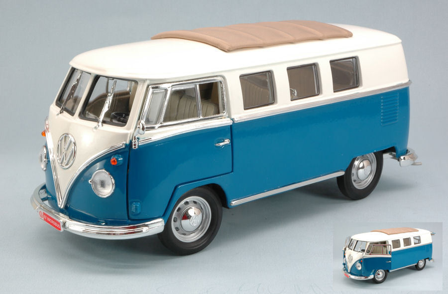 Volkswagen VW Microbus Soft Top 1962 Blue 1:18 Model YAT MING
