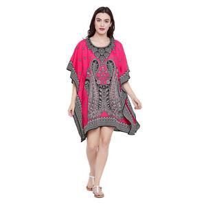 Dress-Tunic-Kaftan-Size-Pink-Paisley-Boho-Women-Casual-Long-Sleeve-Mini-Top