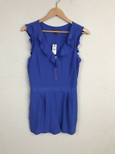 Express-Woman-Romper-Casual-Lined-Ruffled-Zip-Up-Pleated-Sleeveless-Blue-Sz-10