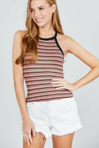 Multicolor Striped High Neck Halter Tank Top Soft Ribbed Knit Sleeveless Fitted