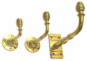 Solid Brass Beehive Coat Hook - Antique Victorian Style Hat Robe Towel - 3 Sizes