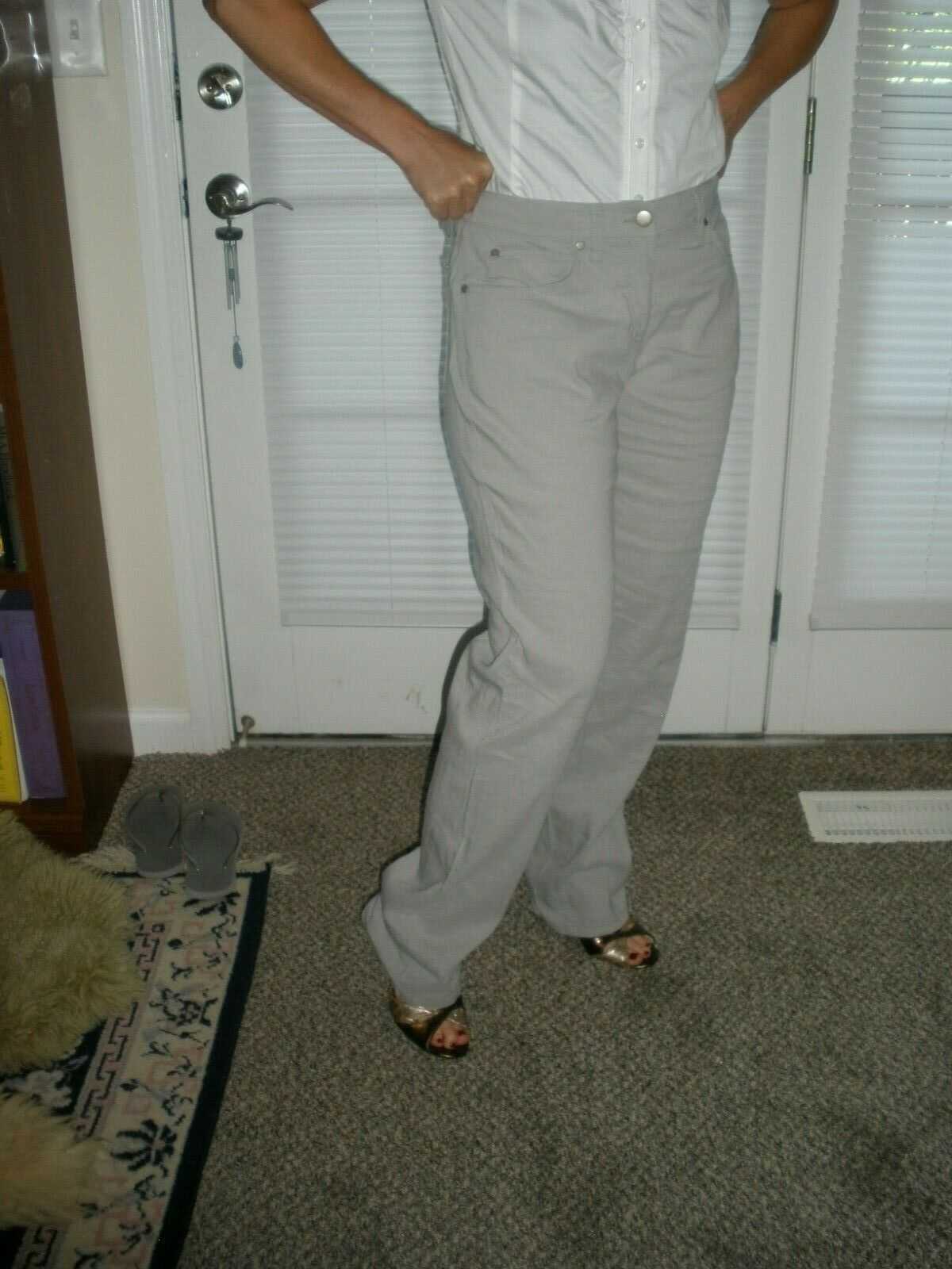 New EMANUEL UNGARA Beige Wheat Cotton Twill Dress Pants Größe 10 44  NWT   225