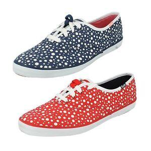 Mujer-Ch-Burbuja-Rojo-Lunares-y-Azul-Marino-Punto-Cintas-Zapato-de-Lona-por-Keds