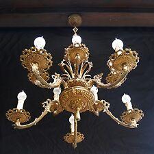antiker Kronleuchter Bronze Etagen Luster 10-flm. goldener Leuchter Hängelampe