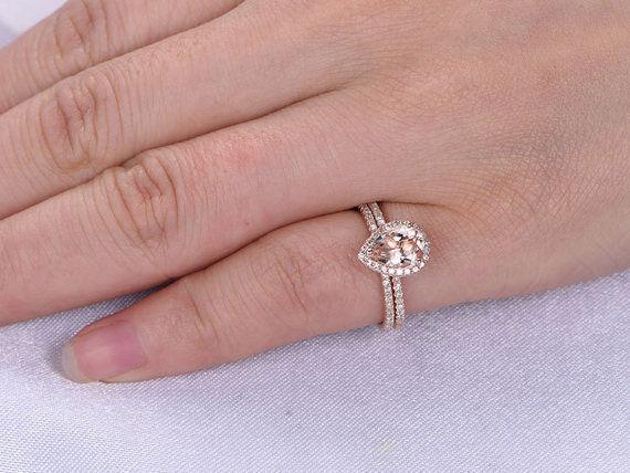 6x8mm Pear Morganite & Dia 14K pink gold Over Engagement Halo Bridal Ring Set