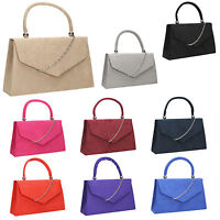 Women Kendall Suede Velvet Leather Envelope Ladies Evening Party Prom Clutch Bag