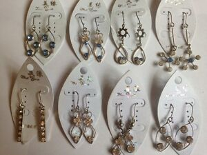 8-Pairs-of-Rhinestone-Earrings-Blue-amp-Colourless-UK-Seller