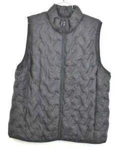 Tangerine-Womens-Black-Puffer-Sleeveless-Jacket-Athletic-Mock-Neck-Zip-Front-XL