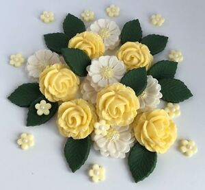 Pastel yellow ivory roses wedding flowers cake decorations edible image is loading pastel yellow amp ivory roses wedding flowers cake mightylinksfo