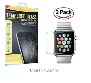 2-PACK-Tempered-Glass-Screen-Protector-For-Apple-Watch-38mm-42mm