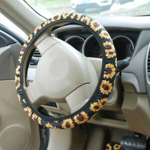 1Set Black Sunflower Car Steering Wheel Cover Steering Wheel Anti-skid Universal