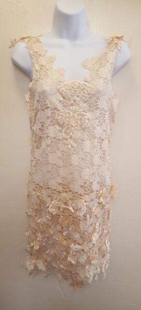 Gatsby 20's Ivory 3D Lace Mini Sheath Dress Wedding  Party Bridal