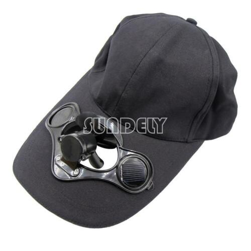 SOLAR POWER AUTOMATIC FAN BASEBALL HAT COOLING CAP SPORTS GAME TAILGATING UNISEX