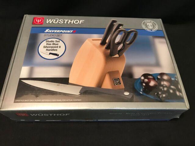 Wusthof Silverpoint Ii 5 Piece Studio Knife Block Set W Blue