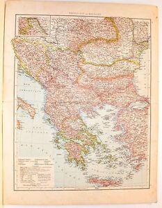 Cartina Geografica Dell Isola Di Creta.Carta Geografica Antica Balcani Grecia Balkans Greece 1880 Old Antique Map Ebay