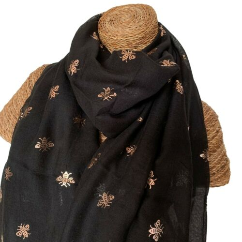 HONEY BEE SCARF LADIES SCARF WITH ROSE GOLD FOIL BEES DESIGN SUPERB SOFT QUALITY