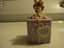 Precious Moments Covered Box with 2 sided lid What Better to Give Then Yourself