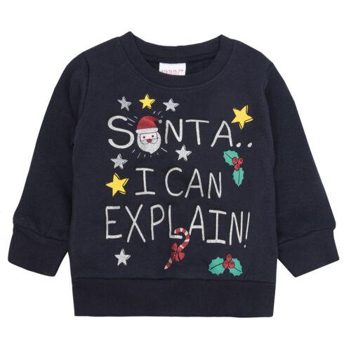 Childrens Christmas Themed Long Sleeved Top Jumper Lise List Snowman Santa Merry