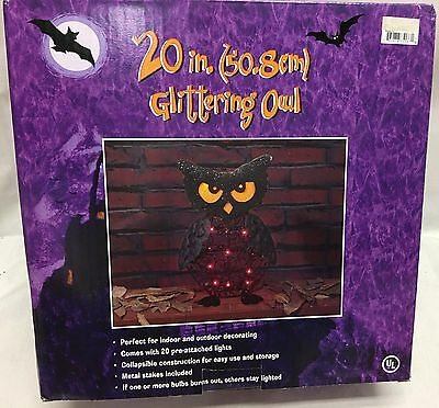 20in Black Glittering Owl Halloween Yard Outdoor Decor Purple Light Prop