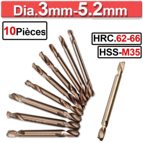 10pcs 3-5.32mm Jeu de HSS M35 Cobalt Foret Hélicoïdal pour Métal Acier Outils
