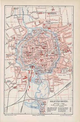 Aus Dem Ausland Importiert Braunschweig Petritor Schloß Stadtplan Von 1897
