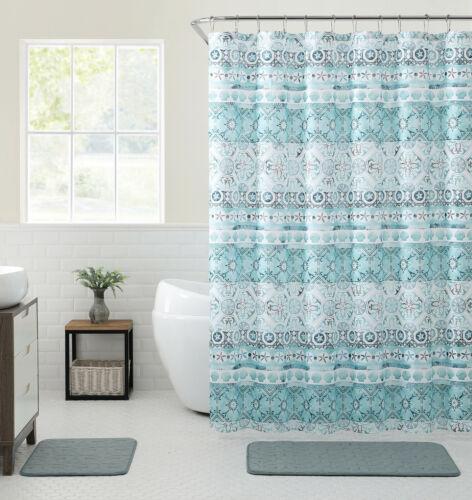 VCNY Home Saray Medallion 13 Pc Blue Turquoise Fabric Shower Curtain /& Hooks Set