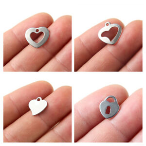 20x Silver Plated Stainless Steel Love Heart Charm Pendant DIY Bracelet/Necklace