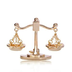 Brass Scales Of Justice Badge Collar Lapel Pin Brooch Wedding Party Jewelry
