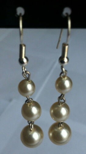 Silver colour earring For Wedding /& Party New Pair of 3 pearl drop earring